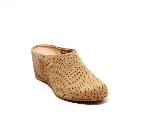 Beige Perforated Suede / Leather Wedge Slip On Mules