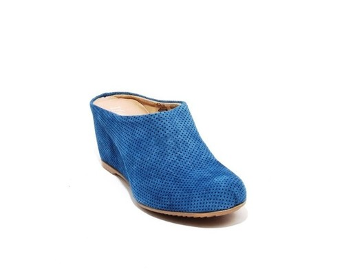 Navy Perforated Suede / Leather Wedge Slip On Mules