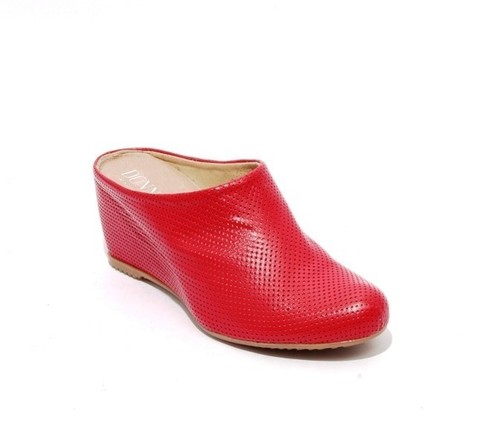Red Perforated Leather / Wedge Slip On Mules