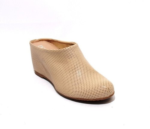Beige Perforated Leather / Wedge Slip On Mules