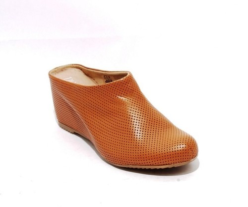 Brown Perforated Leather / Wedge Slip On Mules