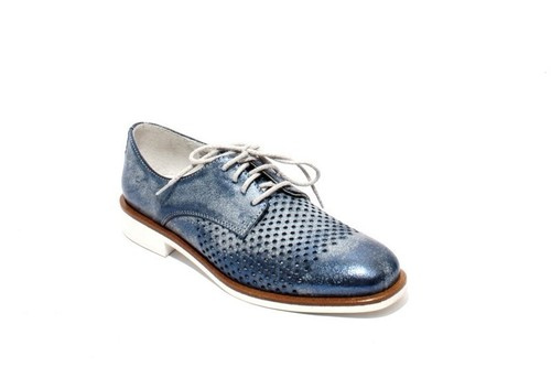 Antique Navy Leather Perforated Lace-Up Oxfords Shoes