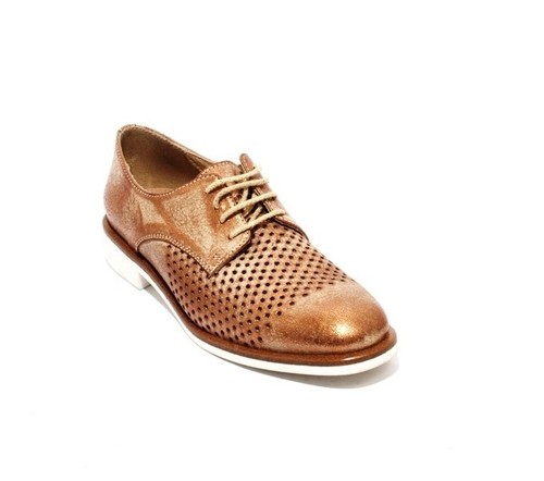 Bronze Leather / Perforated Lace-Up Oxfords Shoes