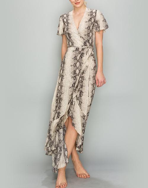 Short Sleeve Wrap Maxi Dress