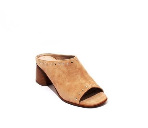 Beige Suede Leather Open-Toe Studded Slides Sandals