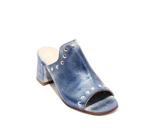 Antique Navy Leather Open-Toe Studded Slides Sandals