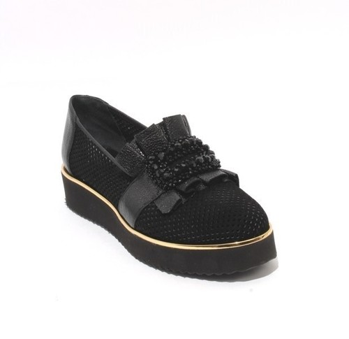 Black Gold Perforated Suede Leather Platform Shoes