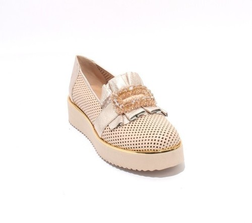Beige Gold Perforated Leather Platform Shoes