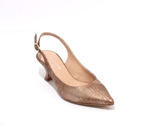 Bronze Antique Leather Slingbacks Pointy Heel Pumps