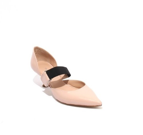 Pink Beige / Black Leather Elastic Pointy Classic Pumps