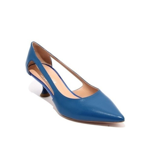 Navy Leather Pointy Toe Classic Heel Pumps
