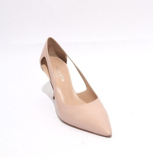 Pink Beige Leather Pointy Toe Classic Heel Pumps