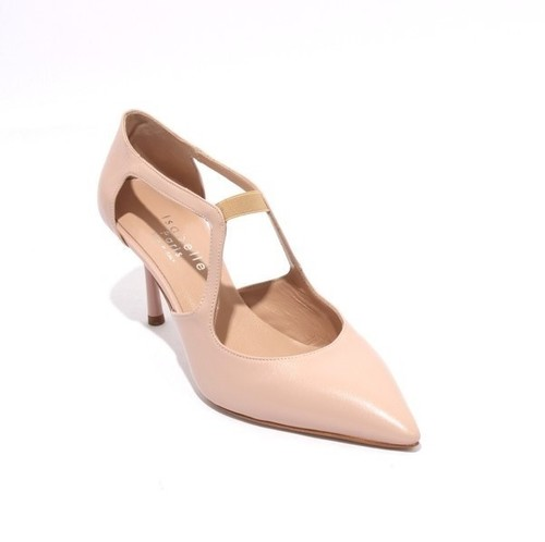 Pink Beige Leather Elastic Pointy Classic Heel Pumps