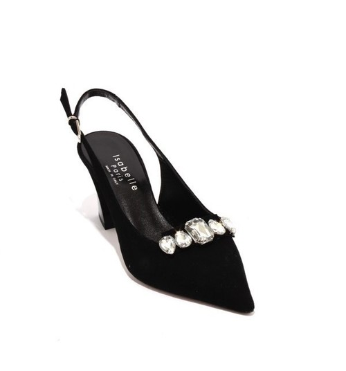 Black Suede / Leather Crystals Slingback Pointy Pumps