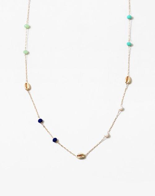Rainbow Bead Long Puka Shell Necklace Gold