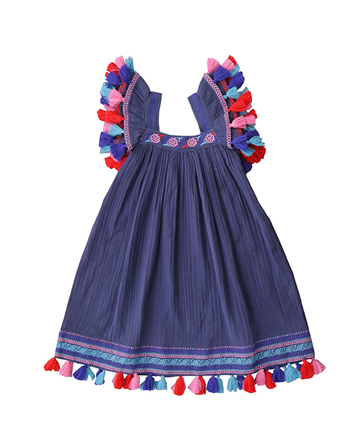 Serena Dress Indigo Embroidery