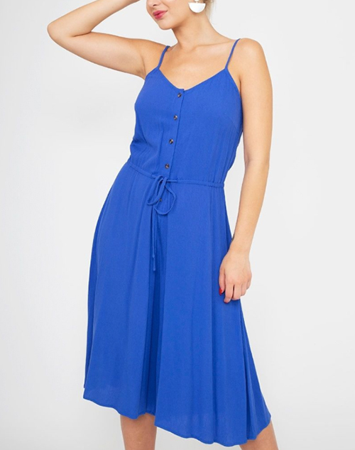 Solid Button Drawstring Cropped Jumpsuit