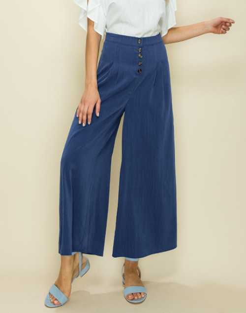 Solid Pleated Crop Wide Leg Trouser