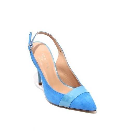 Blue Suede / Leather / Patent Leather Pointy Slingbacks Heel Pumps