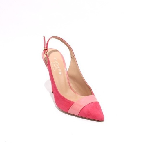 Pink Suede Leather Pointy Heel Slingbacks Pumps