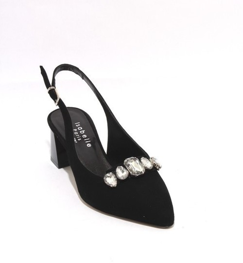 Black Suede Leather Crystals Slingback Pointy Pumps