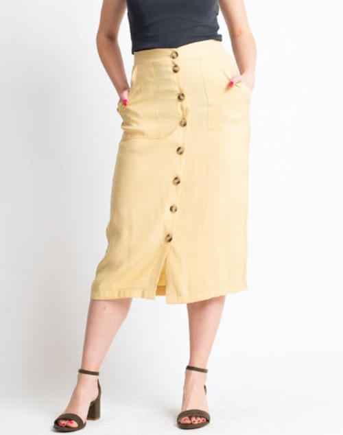 Solid Button Down Pocket Midi Skirt