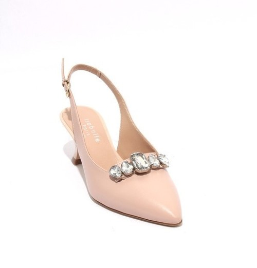 Pink Beige Leather Crystals Slingback Pointy Pumps