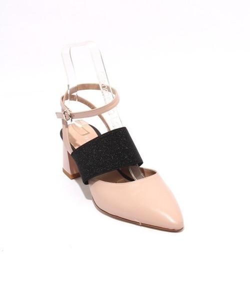 Pink Beige Black Leather Elastic Pointy Heel Pumps