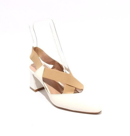Off White Beige Leather Elastic Pointy Heel Pumps