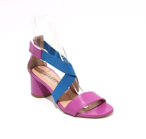 Multicolor Leather / Elastic Open Toe Heel Sandals