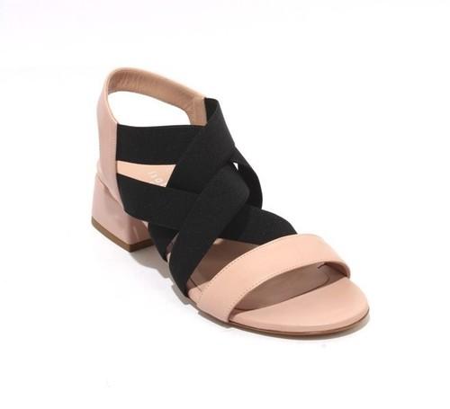 Beige Black / Leather Elastic Open Toe Heel Sandals