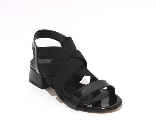 Black Patent Leather Elastic Open Toe Heel Sandal