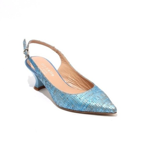 Antique Blue Gold Leather Slingback Pointy Heel Pumps