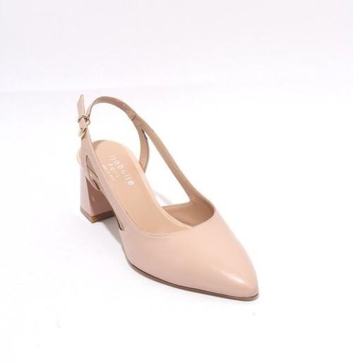 Pink Beige Leather Slingbacks Pointy Toe Heel Pumps