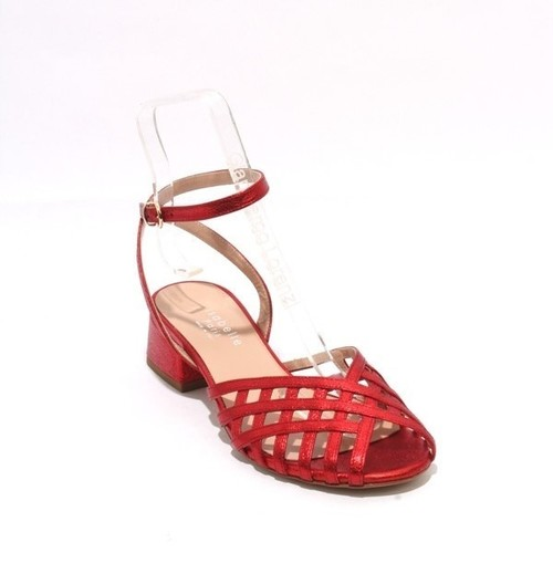 Red Leather Ankle Strap Heel Sandals