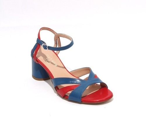 Navy Red Leather Ankle Strap Heel Sandals