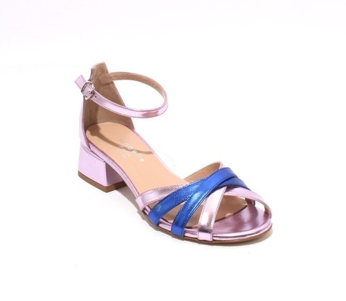 Lilac Navy Leather Closed Back Ankle Strap Sandals