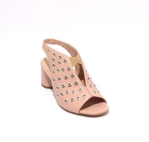 Beige Leather Elastic Studded Open Toe Heel Sandals