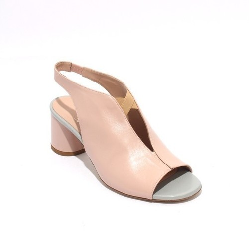 Pink Beige Gray Leather Elastic Open Toe Heel Sandal