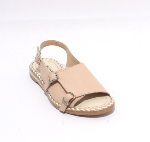 Beige Leather Buckles Comfort Sandals