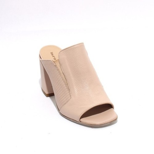 Beige Leather Slide Open Toe Heel Sandal
