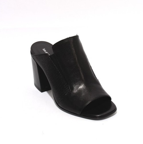 Black Leather Slide Open Toe Heel Sandal