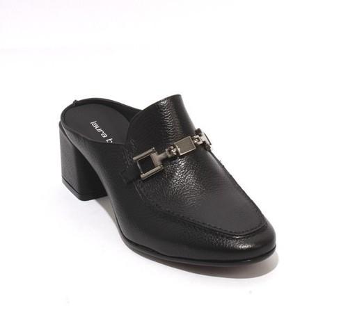 Black Leather Slip On Buckle Heel Mules