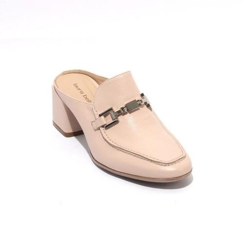 Beige Leather Slip On Buckle Heel Mules