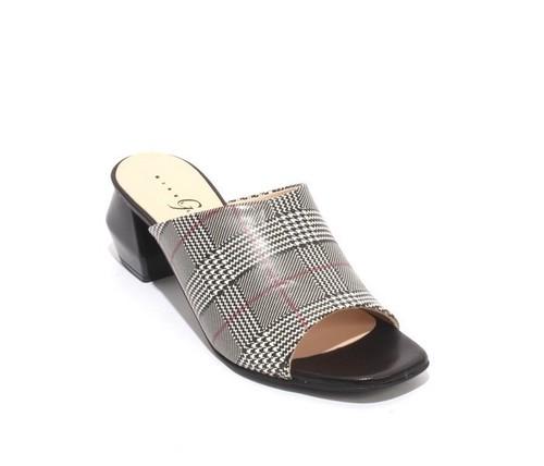 Black White Pink Leather Open Toe Slide Heel Sandals