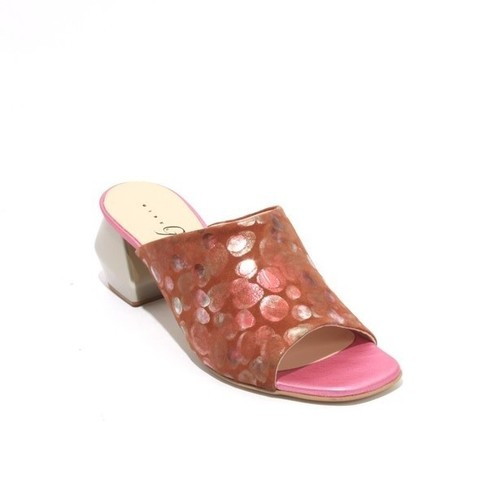 Brown Pink Suede Leather Open Toe Slide Sandals