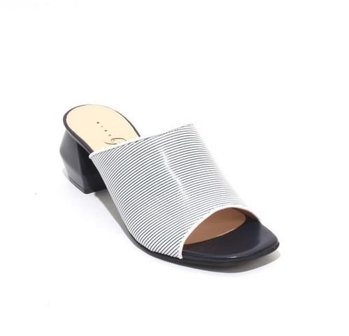 Navy / White Leather Open Toe Slide Heel Sandals