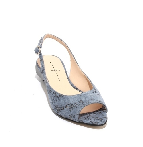 Blue Silver Suede Leather Slingback Sandals
