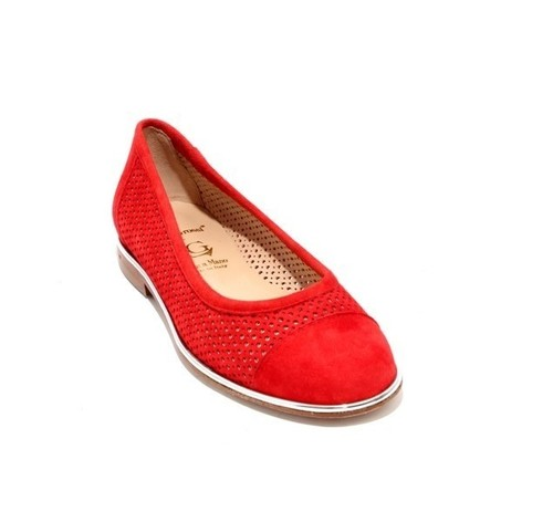 Red Silver / Suede Leather Round Toe Flats Shoes