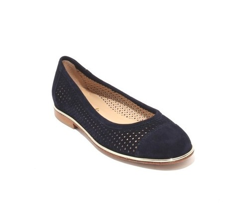 Navy / Gold  Suede / Leather Round Toe Flats Shoes